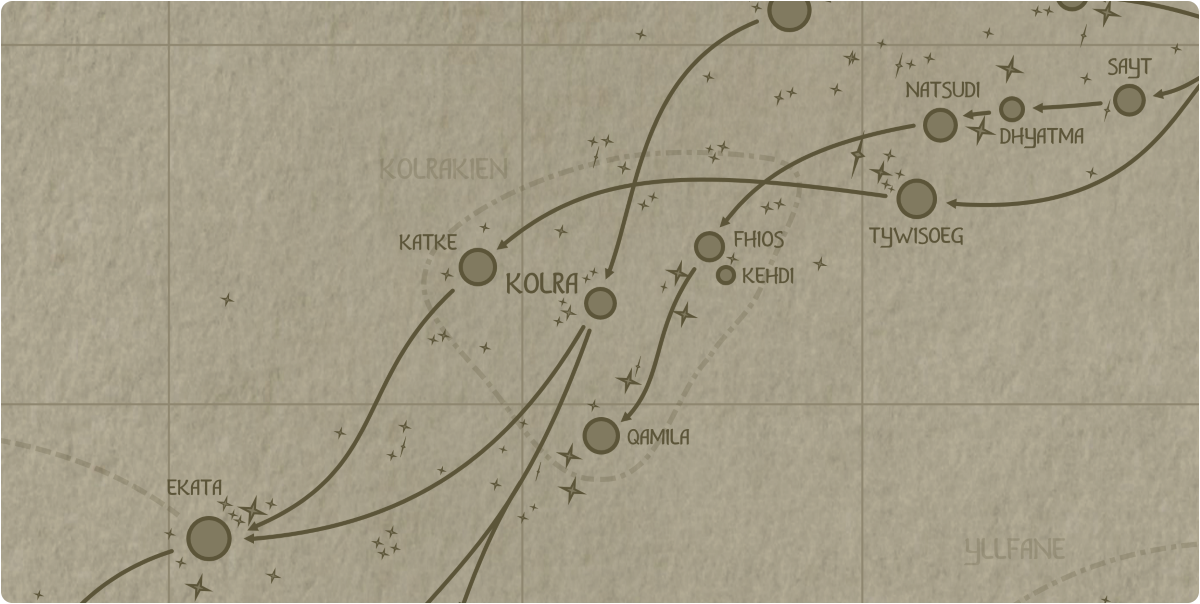A paper map of the region surrounding the Kolra star system