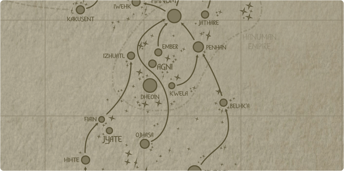 A paper map of the region surrounding the Kwela star system