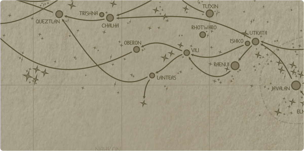 A paper map of the region surrounding the Lanteas star system