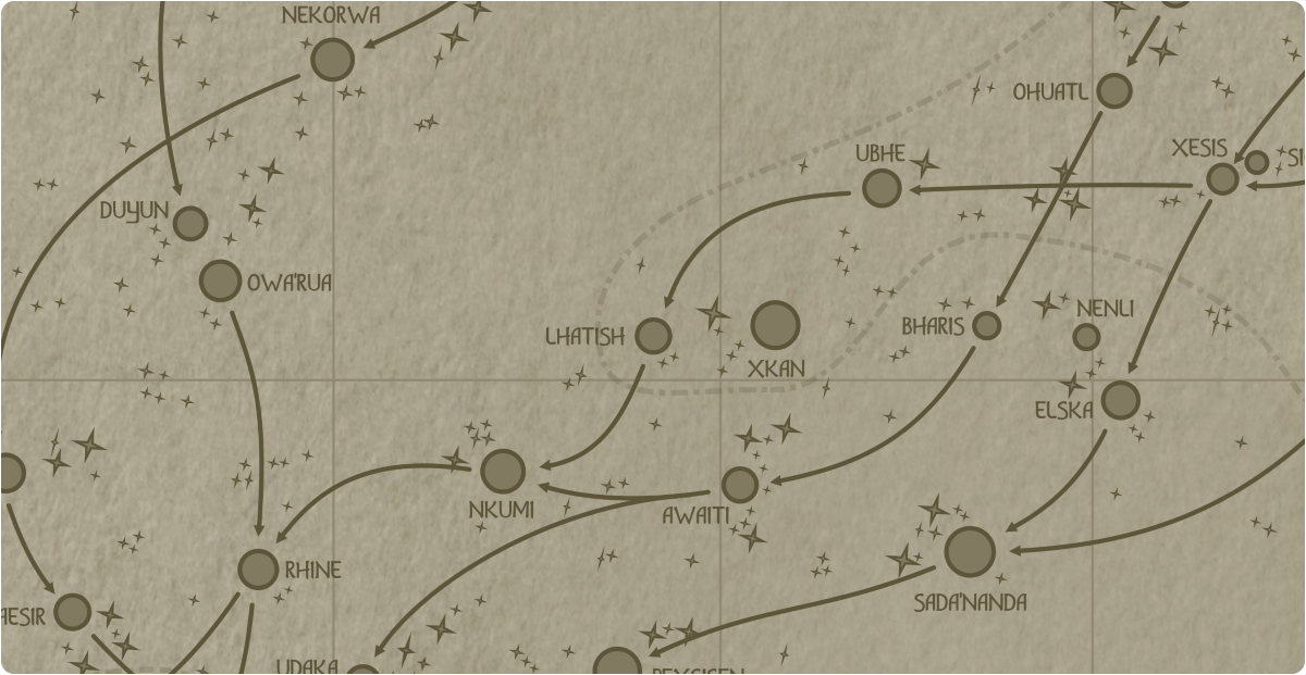 A paper map of the region surrounding the Lhatish star system