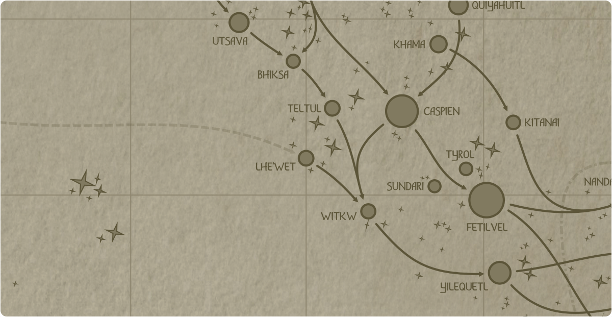A paper map of the region surrounding the Lhe'wet star system