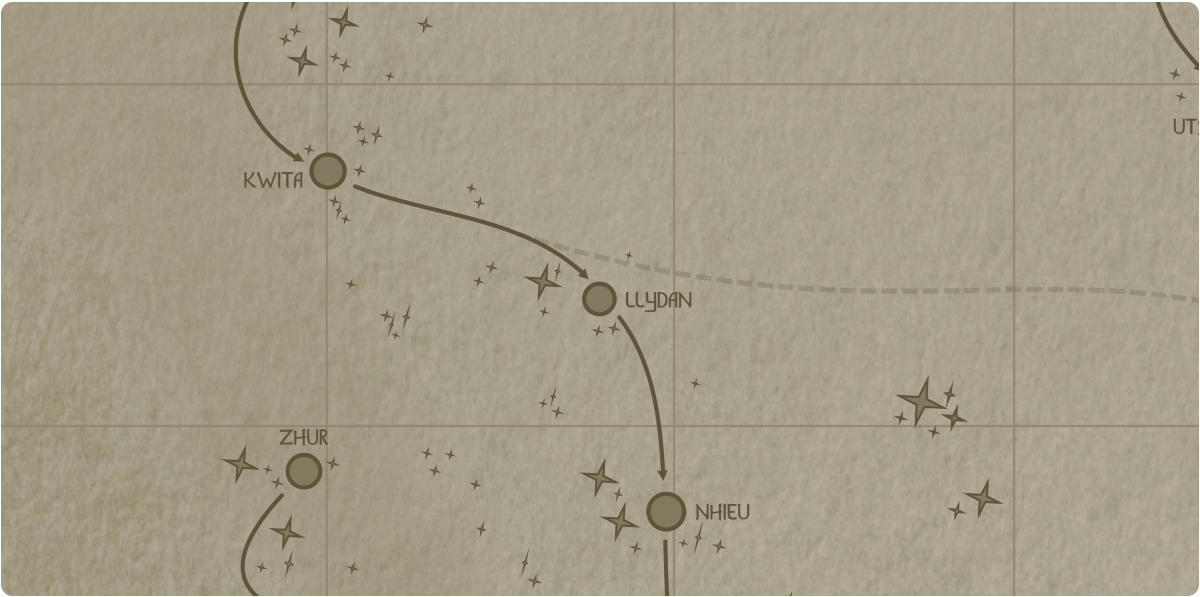 A paper map of the region surrounding the Llydan star system