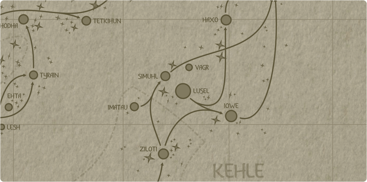 A paper map of the region surrounding the Lusel star system