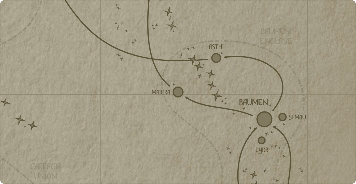 A paper map of the region surrounding the Maicra star system