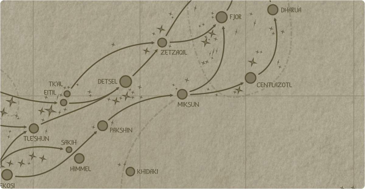 A paper map of the region surrounding the Miksun star system