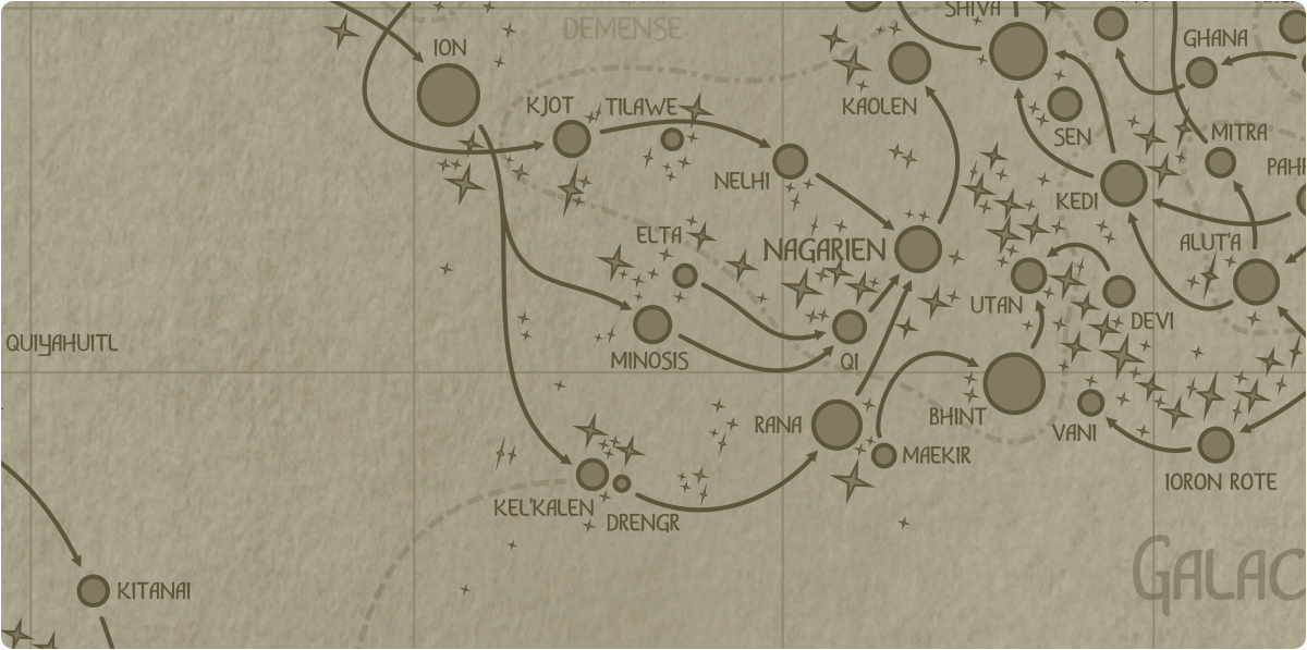 A paper map of the region surrounding the Minosis star system