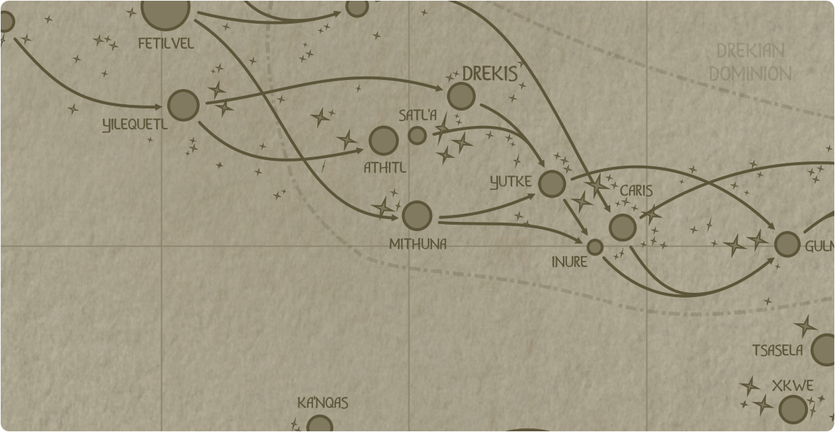 A paper map of the region surrounding the Mithuna star system