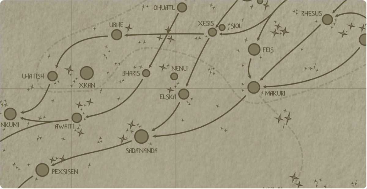A paper map of the region surrounding the Nenli star system