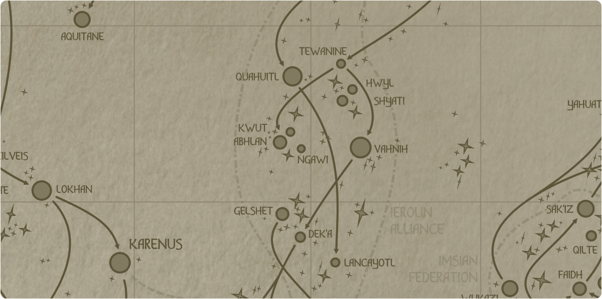 A paper map of the region surrounding the Ngawi star system