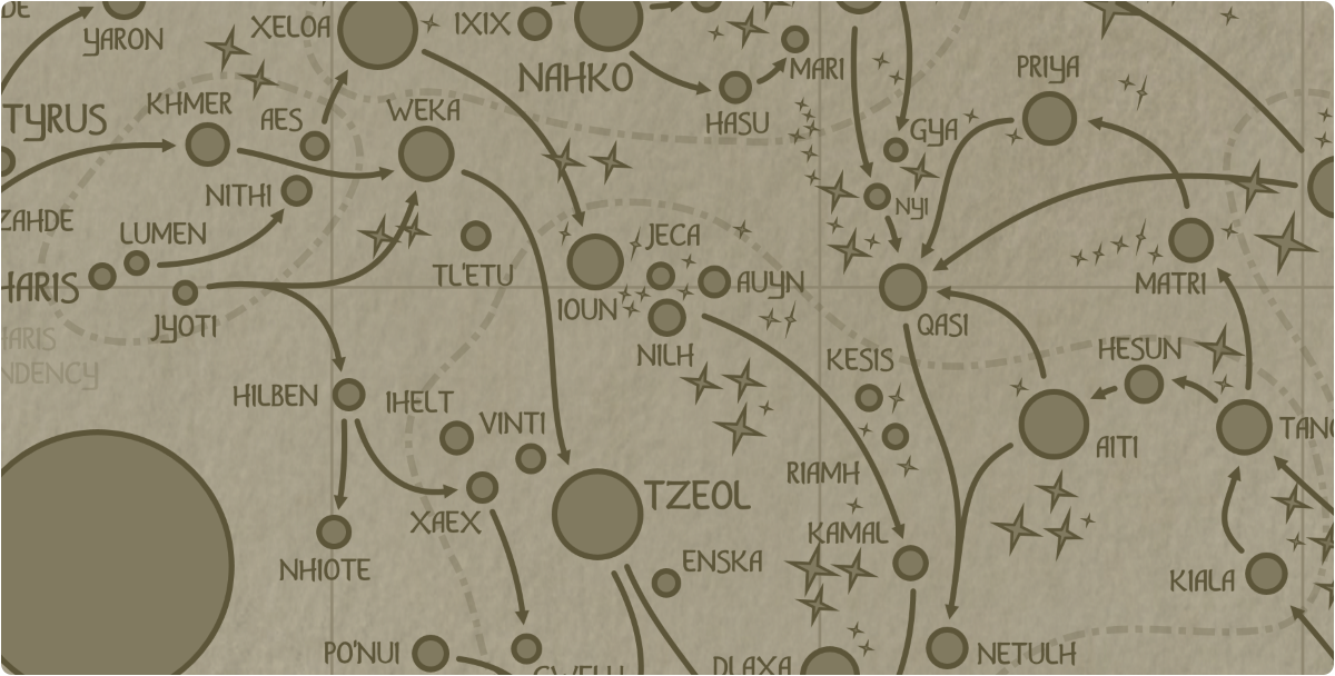 A paper map of the region surrounding the Nilh star system