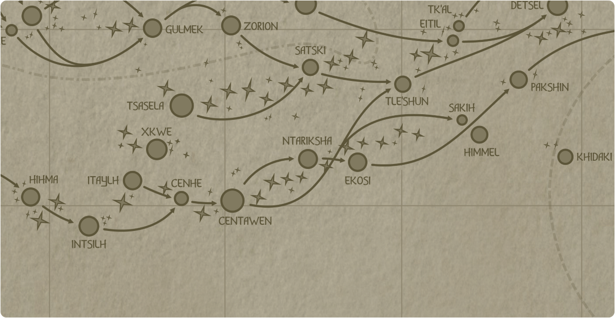 A paper map of the region surrounding the Ntariksha star system