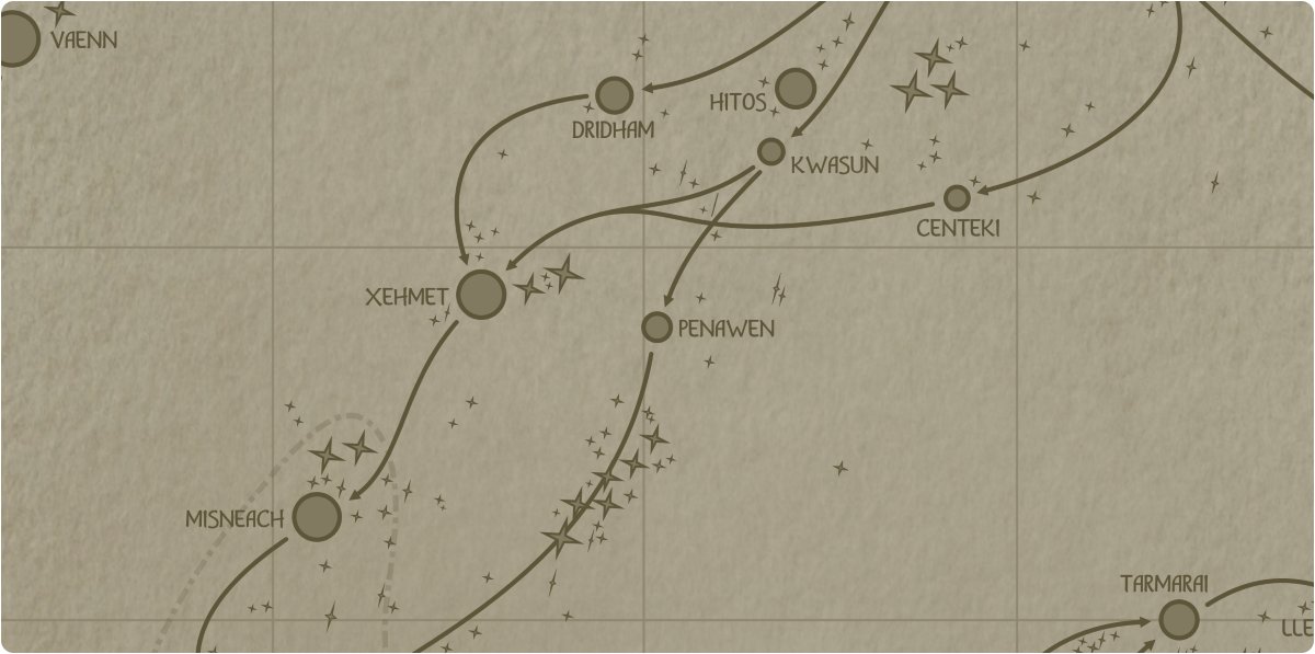A paper map of the region surrounding the Penawen star system