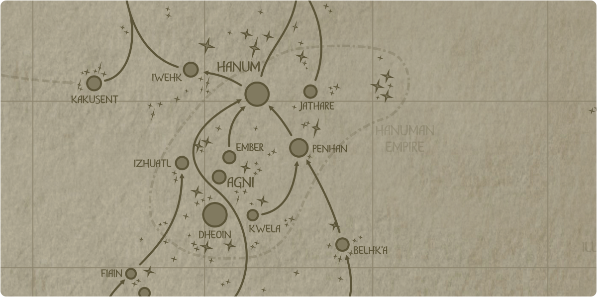 A paper map of the region surrounding the Penhan star system
