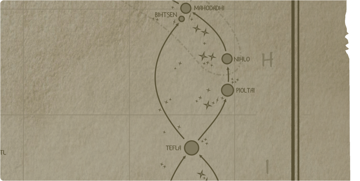 A paper map of the region surrounding the Pioltai star system