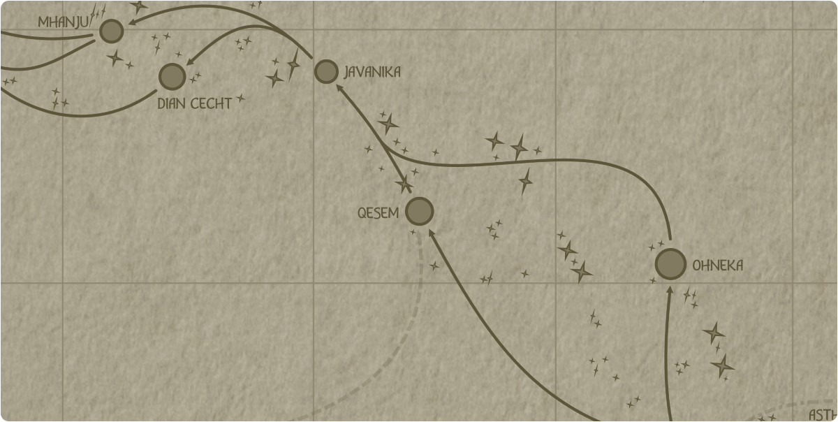 A paper map of the region surrounding the Qesem star system