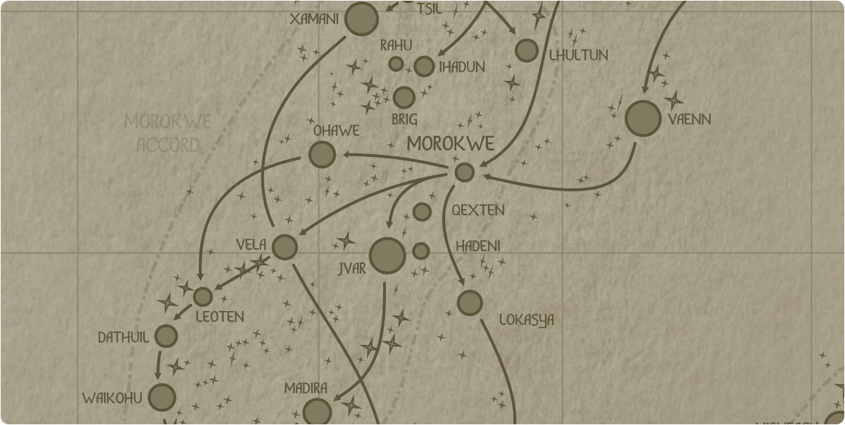 A paper map of the region surrounding the Qexten star system