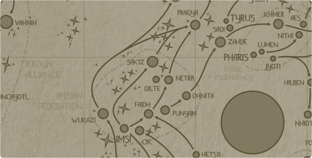 A paper map of the region surrounding the Qilte star system