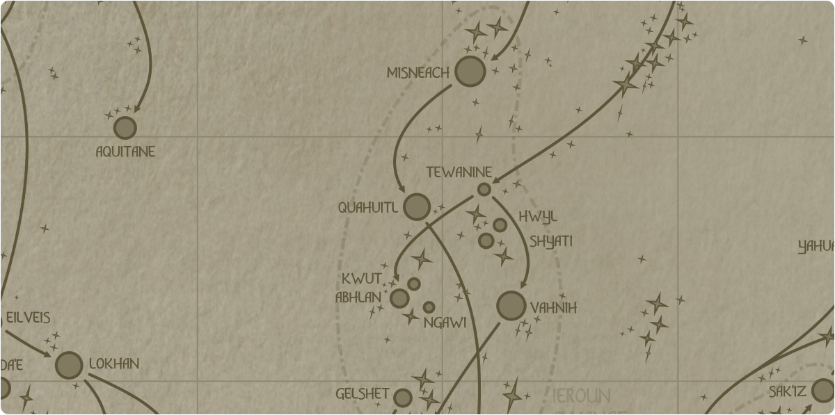 A paper map of the region surrounding the Quahuitl star system