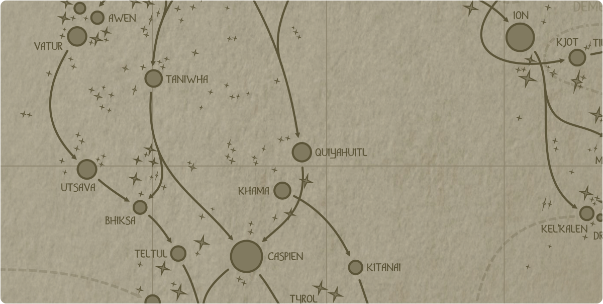 A paper map of the region surrounding the Quiyahuitl star system
