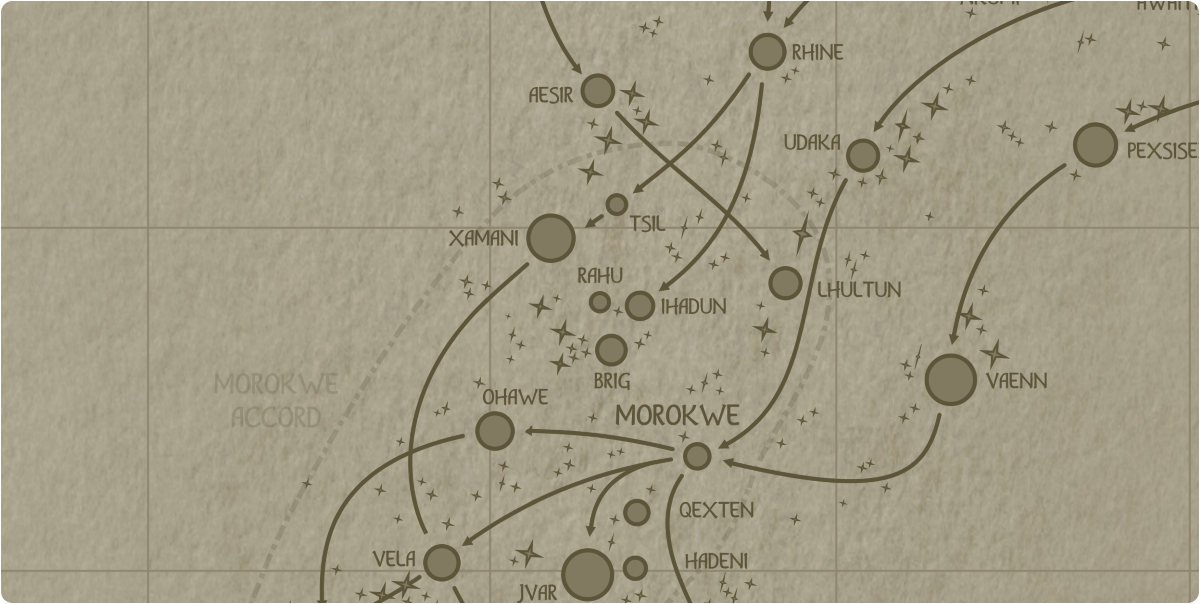 A paper map of the region surrounding the Rahu star system