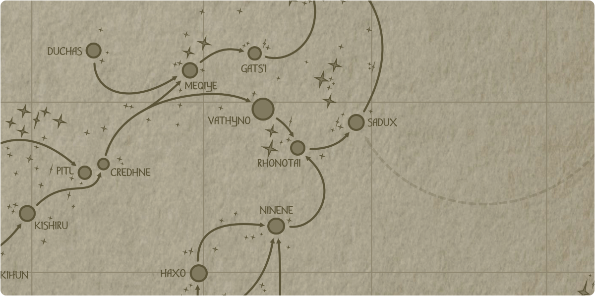 A paper map of the region surrounding the Rhonotai star system
