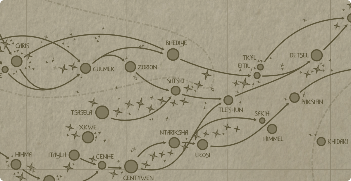 A paper map of the region surrounding the Satski star system