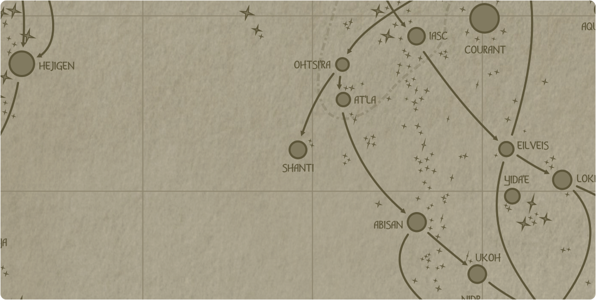 A paper map of the region surrounding the Shanti star system