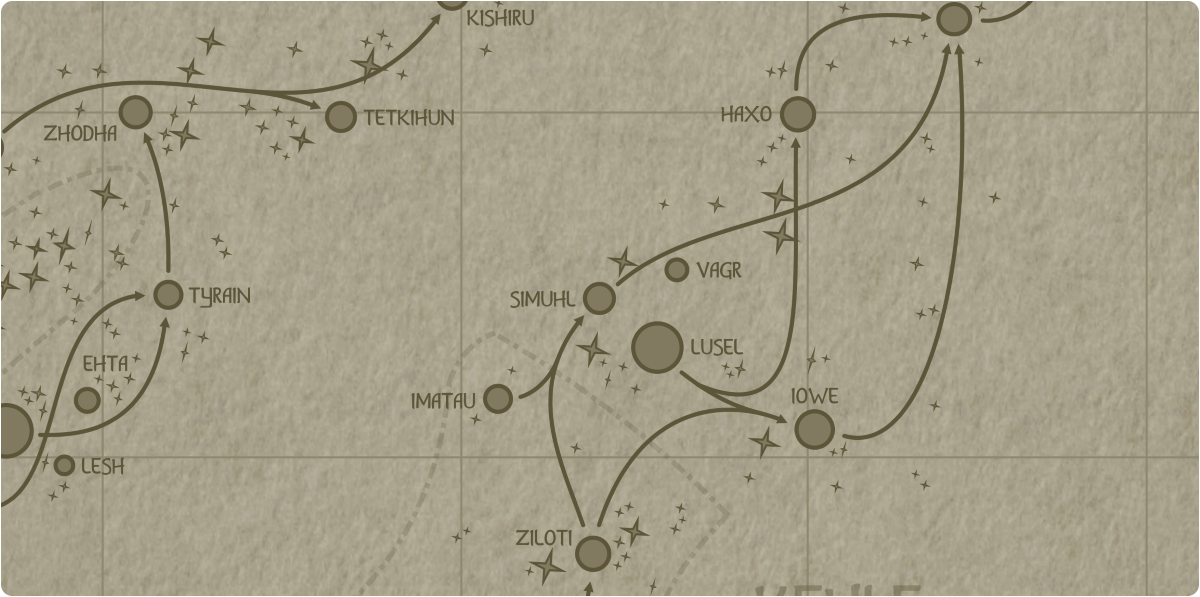 A paper map of the region surrounding the Simuhl star system