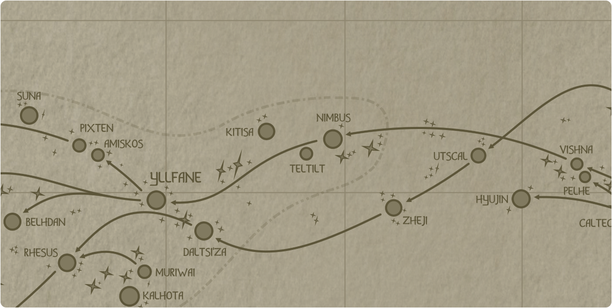 A paper map of the region surrounding the Teltilt star system