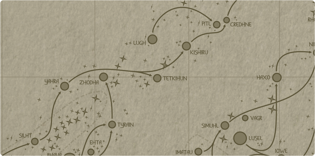 A paper map of the region surrounding the Tetkihun star system