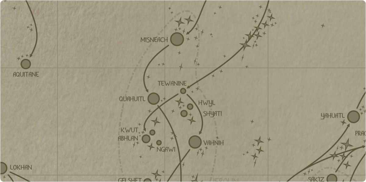 A paper map of the region surrounding the Tewanine star system