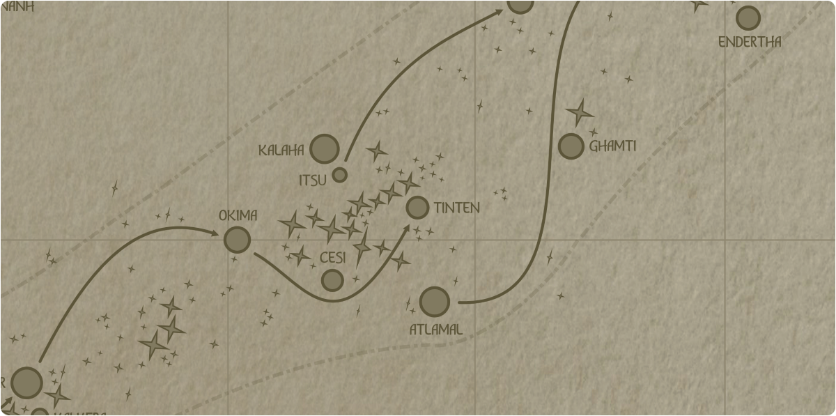 A paper map of the region surrounding the Tinten star system