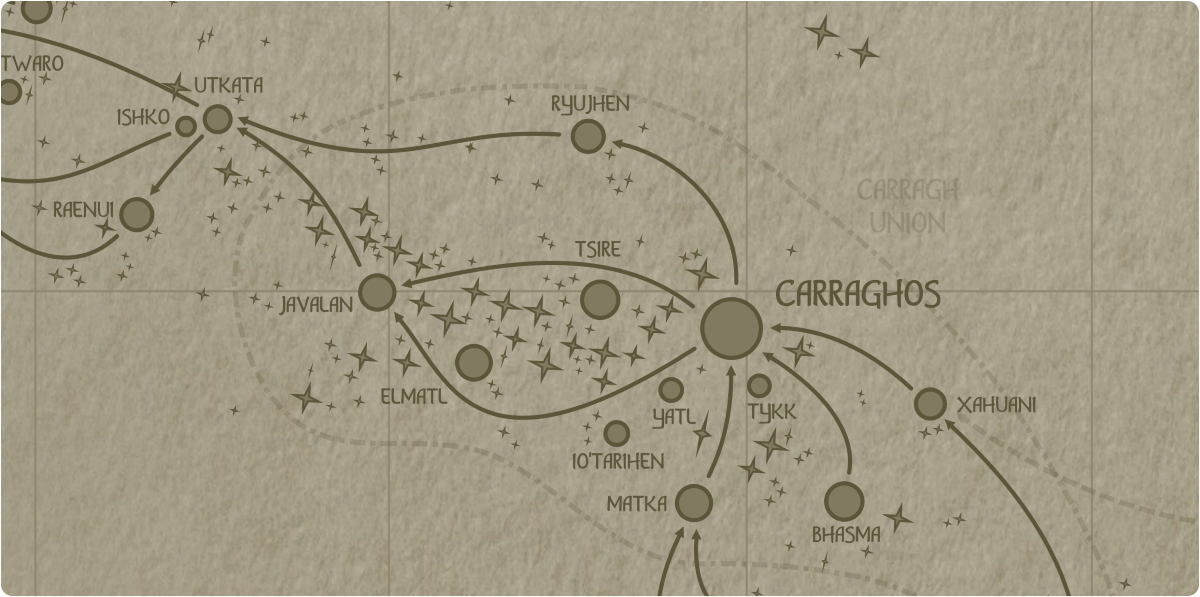A paper map of the region surrounding the Tsire star system