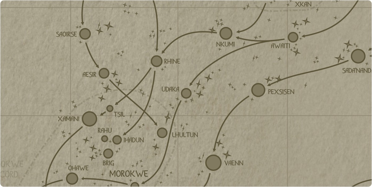 A paper map of the region surrounding the Udaka star system
