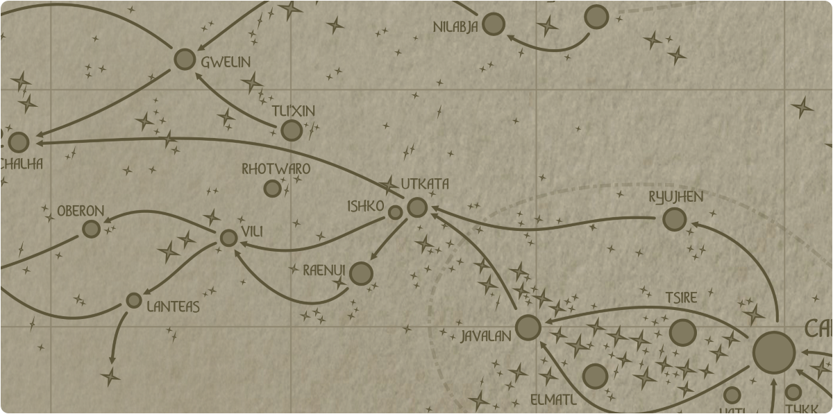 A paper map of the region surrounding the Utkata star system