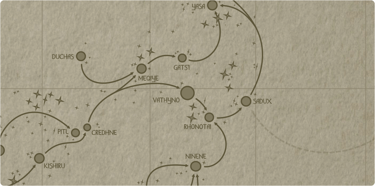 A paper map of the region surrounding the Vathyno star system