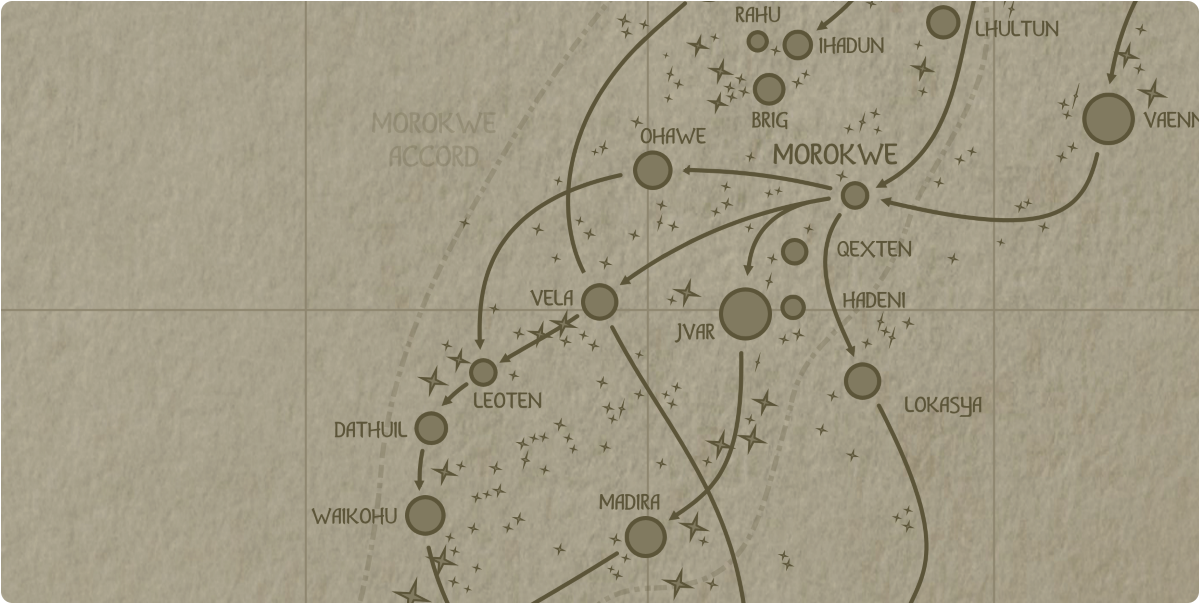 A paper map of the region surrounding the Vela star system