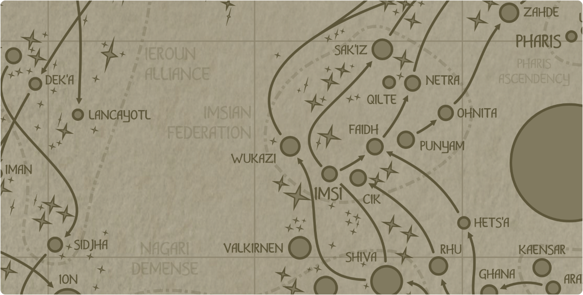 A paper map of the region surrounding the Wukazi star system