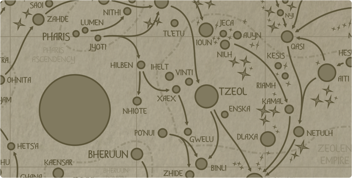 A paper map of the region surrounding the Xaex star system