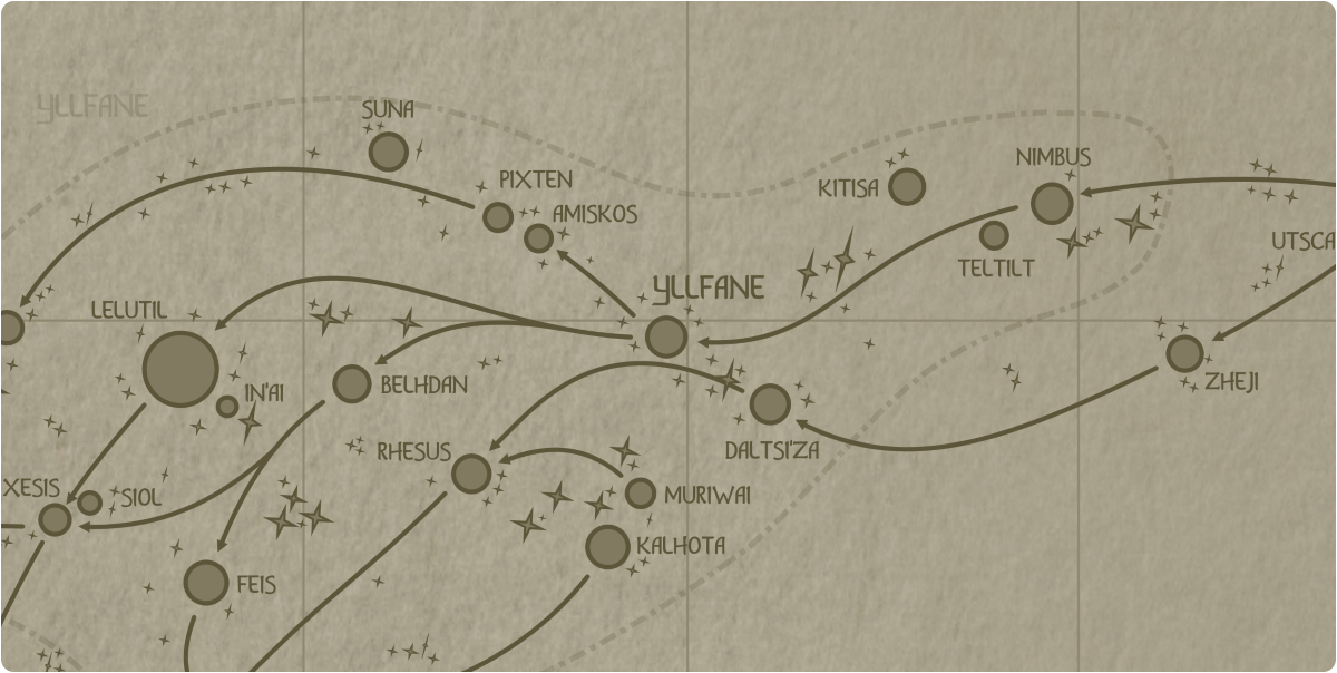 A paper map of the region surrounding the Yllfane star system