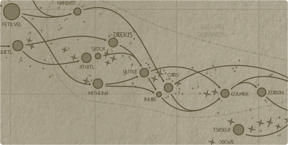 A paper map of the region surrounding the Yutke star system