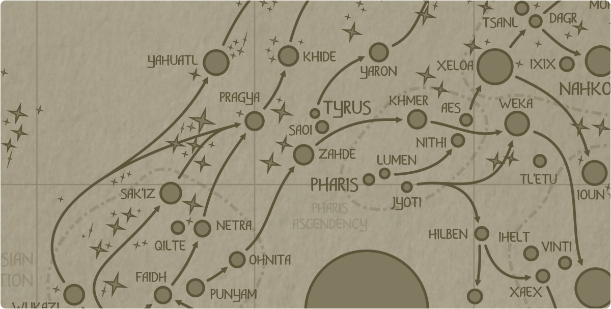A paper map of the region surrounding the Zahde star system