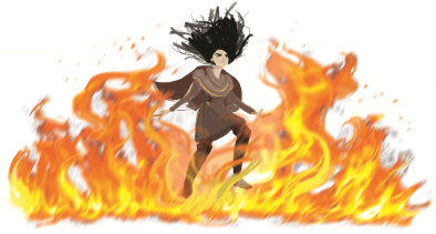Depiction of a female human pyromancer binding a wall of fire