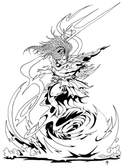 Depiction of a nereid aeromancer binding a whirlwind of air