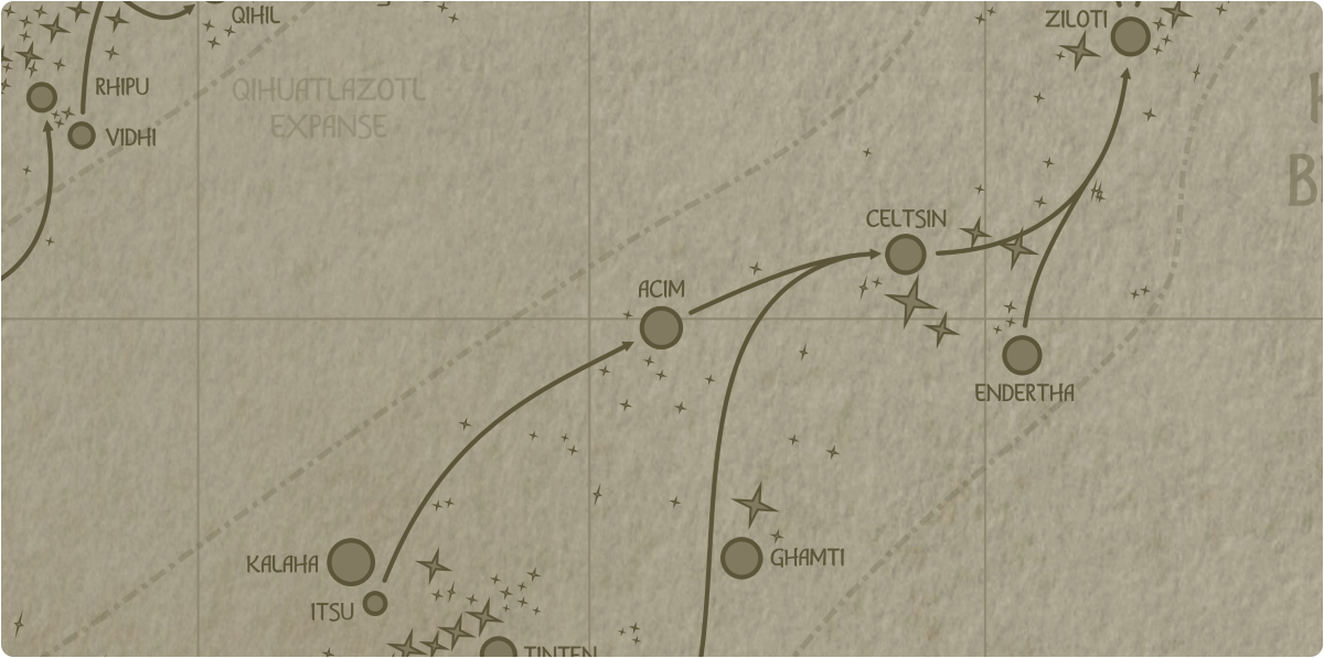 A paper map of the region surrounding the Acim star system