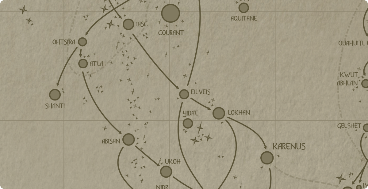 A paper map of the region surrounding the Eilveis star system